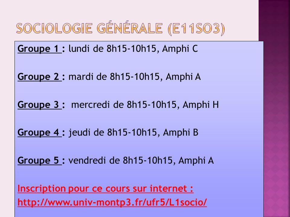 Sociologie générale (E11SO3)