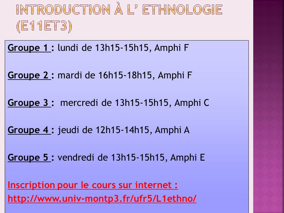 Introduction à l' ethnologie (E11ET3)