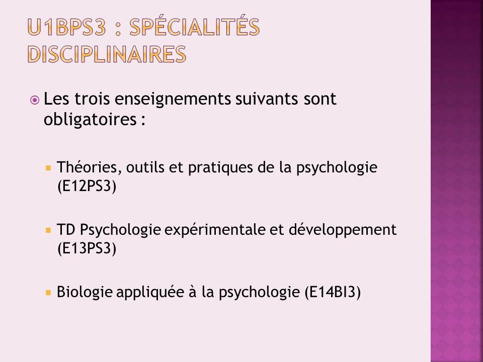 U1BPS3 : Spécialités disciplinaires