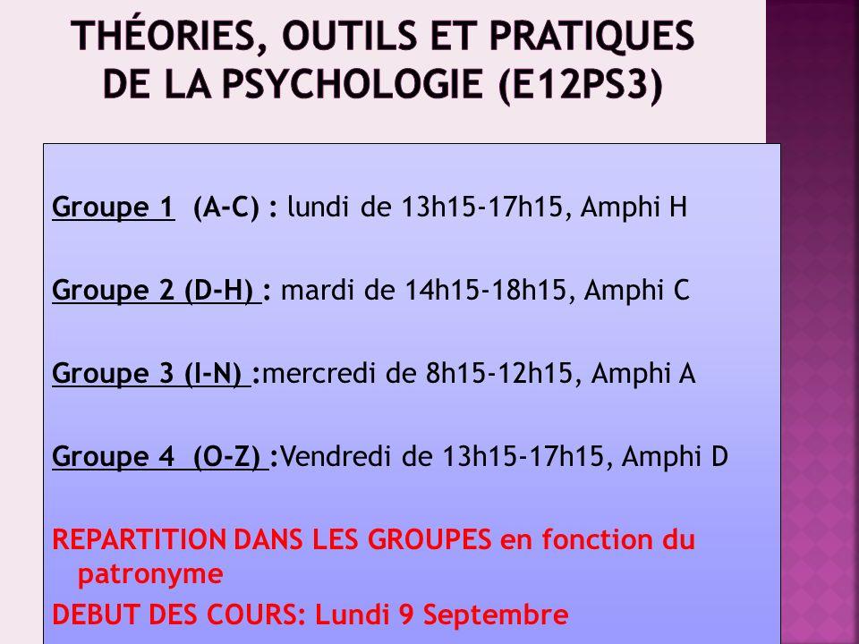 Théories, outils et pratiques de la psychologie (E12PS3)