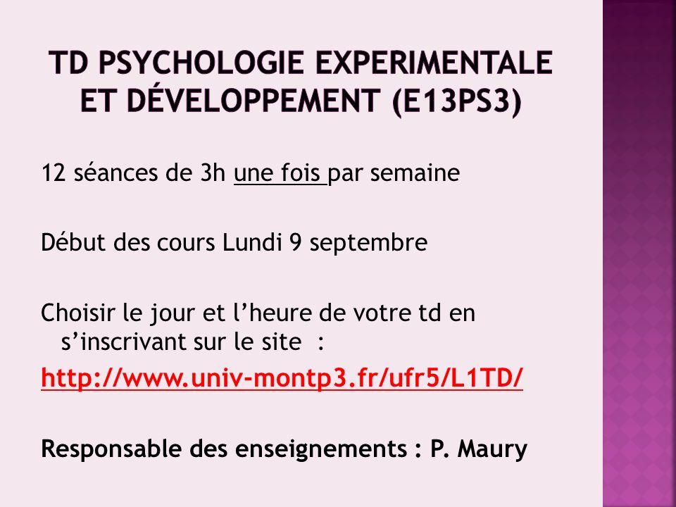 TD Psychologie experimentale et développement (E13PS3)