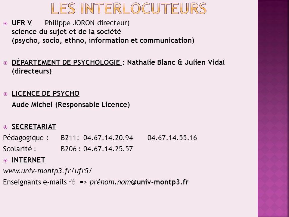 Les INTERLOCUTEURS UFR V Philippe JORON directeur) science du sujet et de la société (psycho, socio, ethno, information et communication)