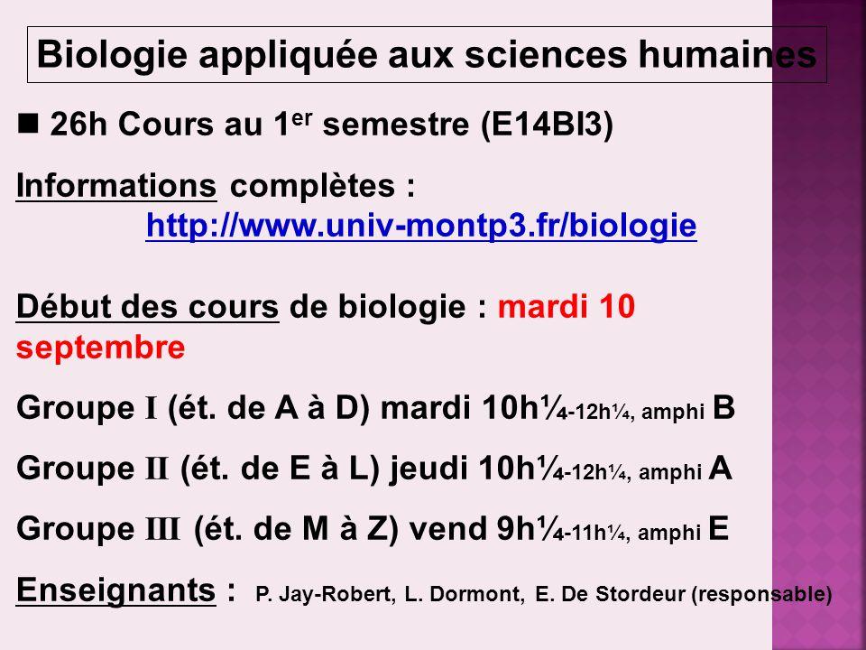 Biologie appliquée aux sciences humaines