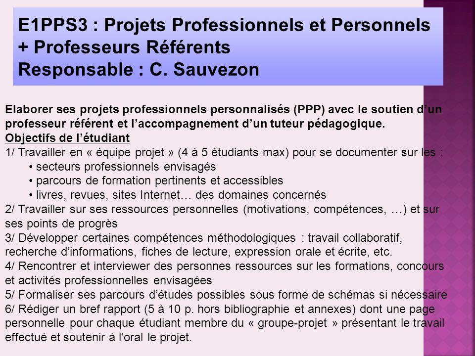 E1PPS3 : Projets Professionnels et Personnels + Professeurs Référents