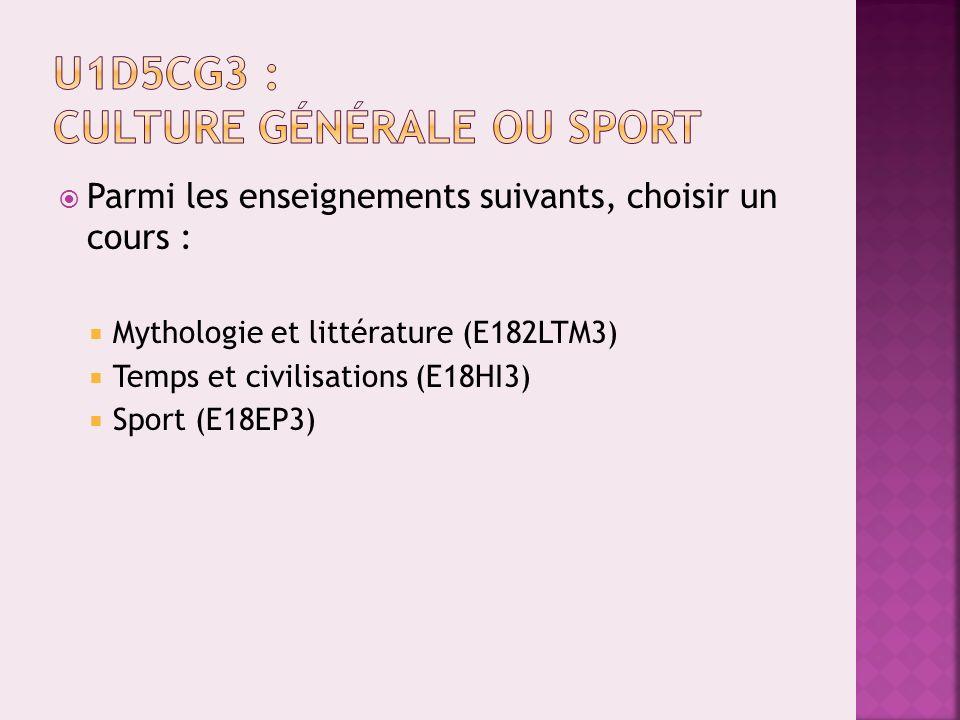U1D5CG3 : Culture générale ou sport