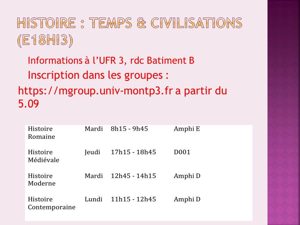Histoire : temps & civilisations (E18HI3)