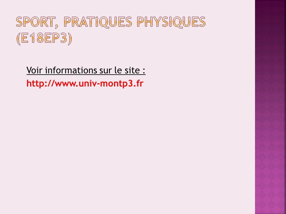 Sport, pratiques physiques (E18EP3)