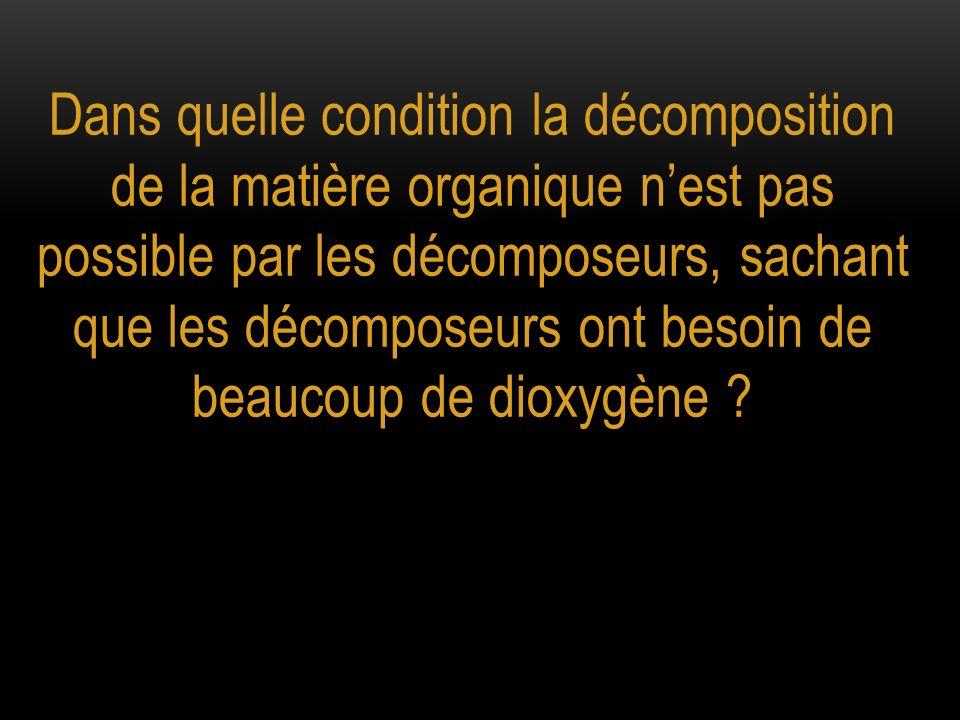 Dans quelle condition la décomposition de la matière organique n'est pas possible par les décomposeurs, sachant que les décomposeurs ont besoin de beaucoup de dioxygène