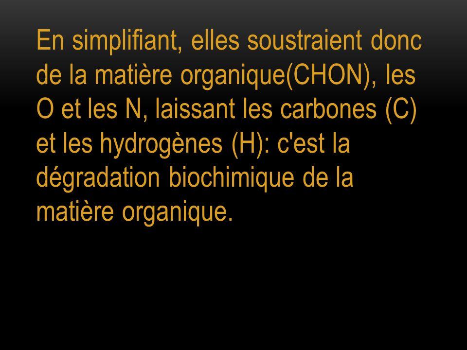 En simplifiant, elles soustraient donc de la matière organique(CHON), les O et les N, laissant les carbones (C) et les hydrogènes (H): c est la dégradation biochimique de la matière organique.