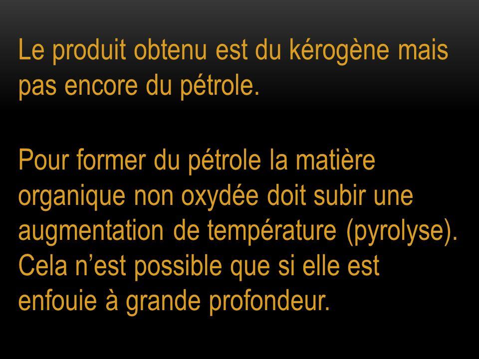 Le produit obtenu est du kérogène mais pas encore du pétrole.