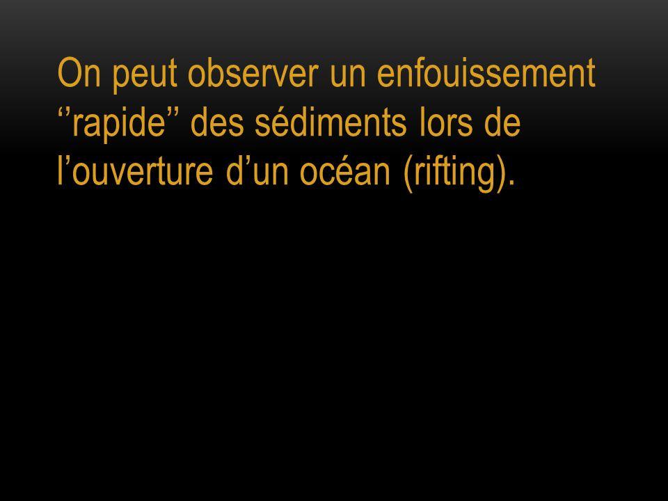 On peut observer un enfouissement ''rapide'' des sédiments lors de l'ouverture d'un océan (rifting).
