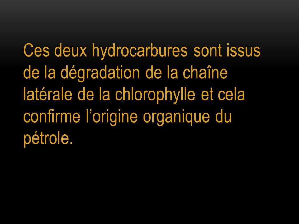 Ces deux hydrocarbures sont issus de la dégradation de la chaîne latérale de la chlorophylle et cela confirme l'origine organique du pétrole.