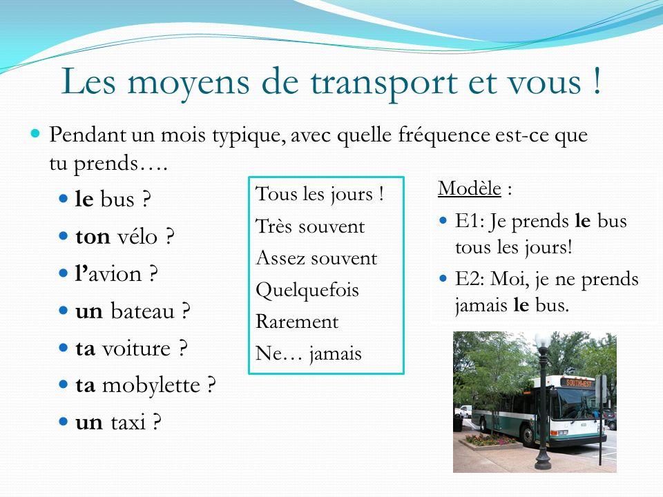Les moyens de transport et vous !