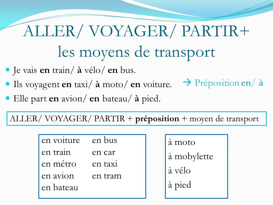 ALLER/ VOYAGER/ PARTIR+ les moyens de transport