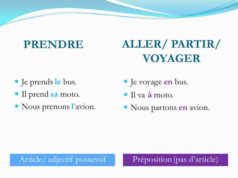 ALLER/ PARTIR/ VOYAGER