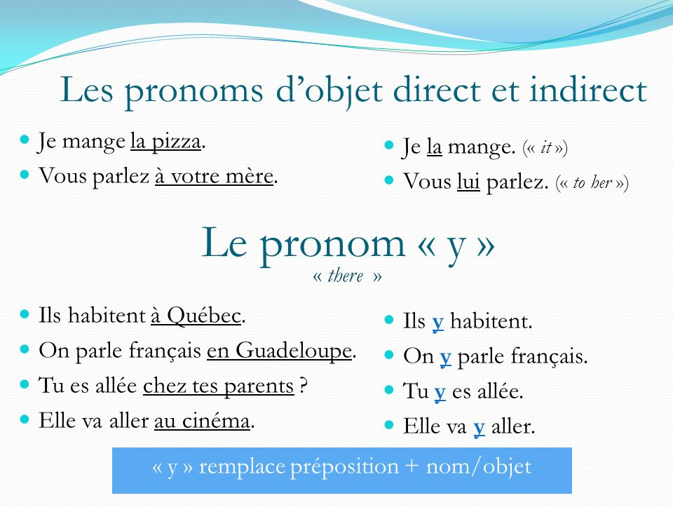 Le pronom « y » Les pronoms d'objet direct et indirect