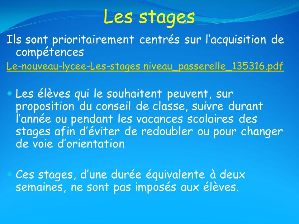Les stages Ils sont prioritairement centrés sur l'acquisition de compétences. Le-nouveau-lycee-Les-stages niveau_passerelle_135316.pdf.