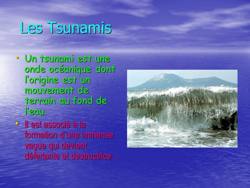 Les Tsunamis Un tsunami est une onde océanique dont l'origine est un mouvement de terrain au fond de l'eau.