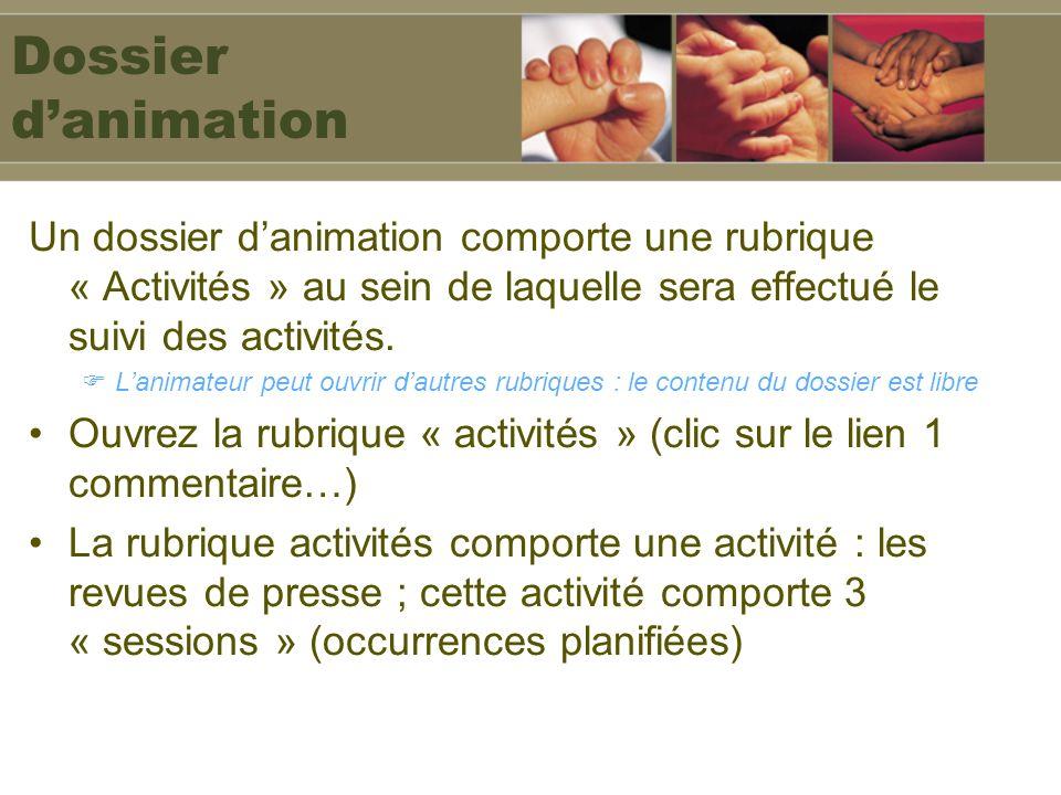 Dossier d'animation Un dossier d'animation comporte une rubrique « Activités » au sein de laquelle sera effectué le suivi des activités.