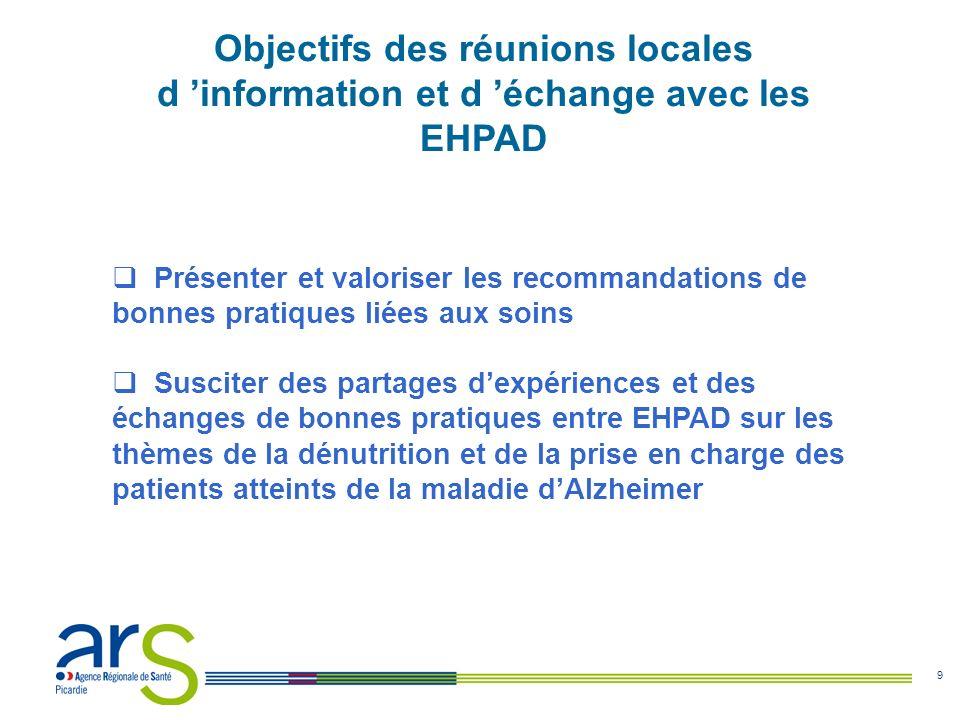Objectifs des réunions locales d 'information et d 'échange avec les EHPAD