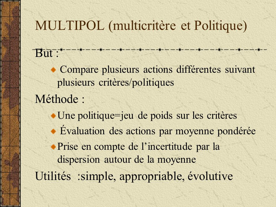 MULTIPOL (multicritère et Politique)
