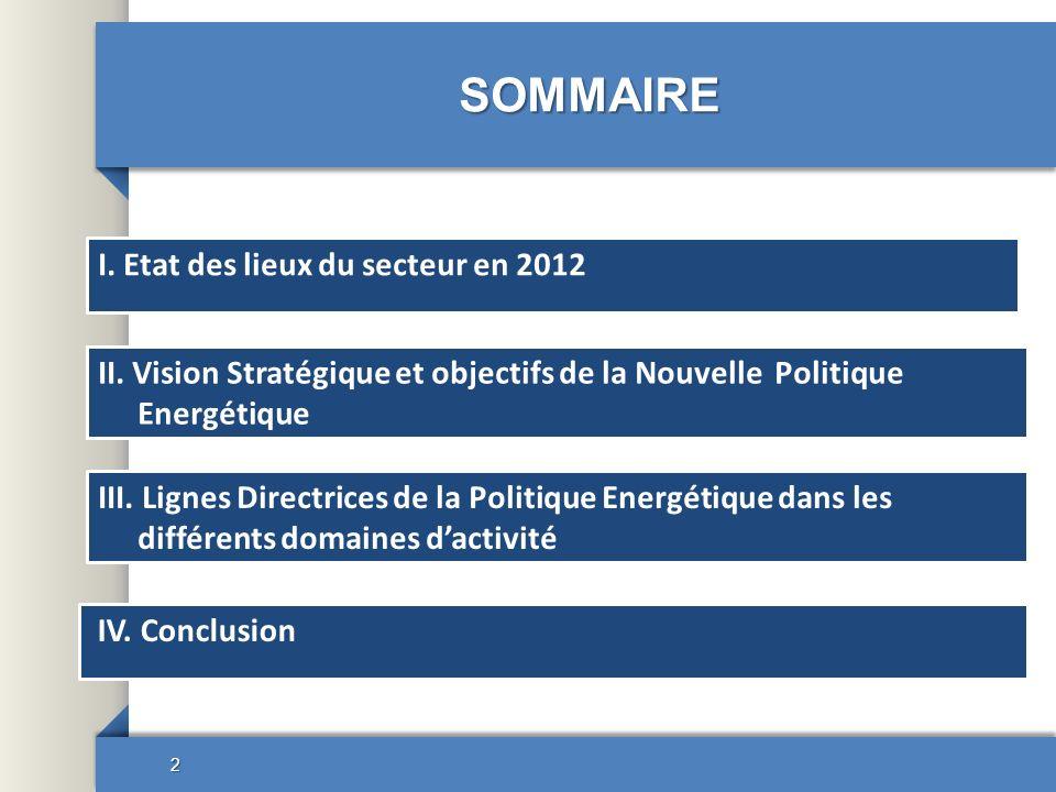 SOMMAIRE I. Etat des lieux du secteur en 2012