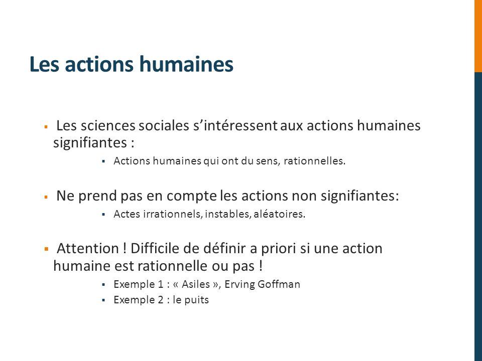 Les actions humaines Les sciences sociales s'intéressent aux actions humaines signifiantes : Actions humaines qui ont du sens, rationnelles.