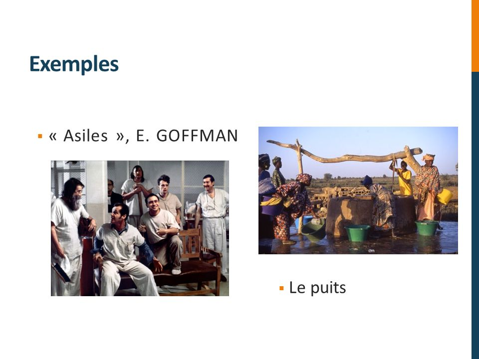 Exemples « Asiles », E. GOFFMAN Le puits