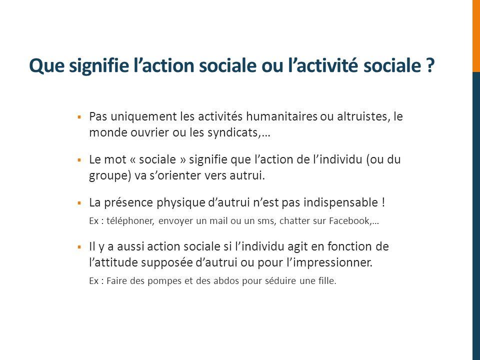 Que signifie l'action sociale ou l'activité sociale
