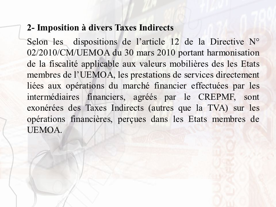 2- Imposition à divers Taxes Indirects