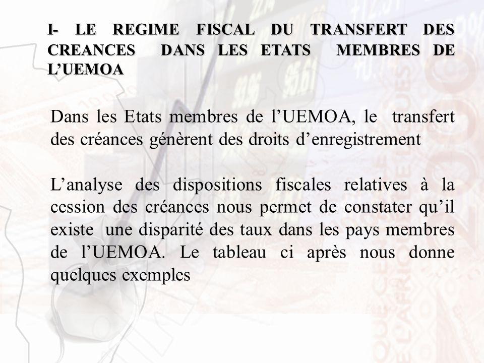 I- LE REGIME FISCAL DU TRANSFERT DES CREANCES DANS LES ETATS MEMBRES DE L'UEMOA