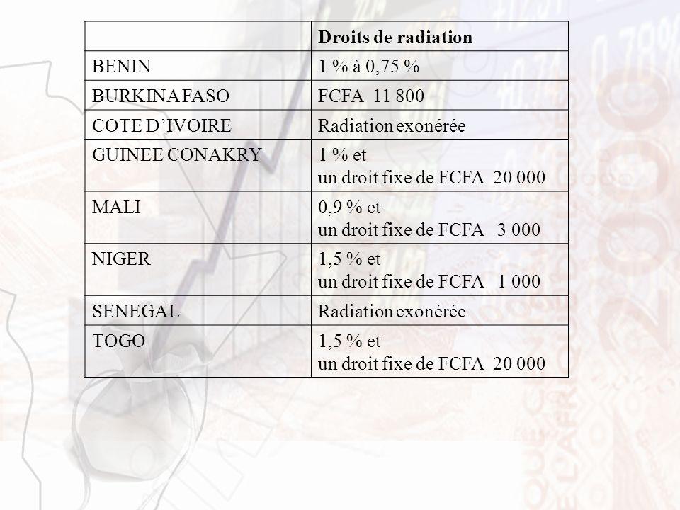 Droits de radiation BENIN. 1 % à 0,75 % BURKINA FASO. FCFA 11 800. COTE D'IVOIRE. Radiation exonérée.