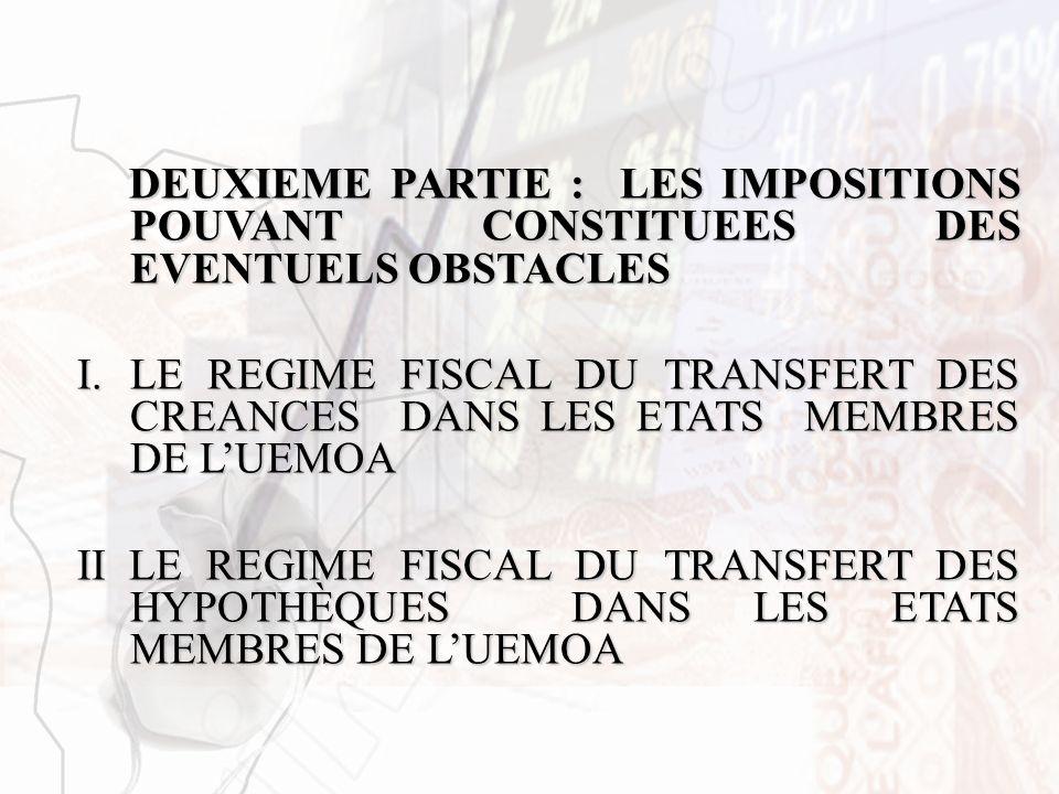 DEUXIEME PARTIE : LES IMPOSITIONS POUVANT CONSTITUEES DES EVENTUELS OBSTACLES