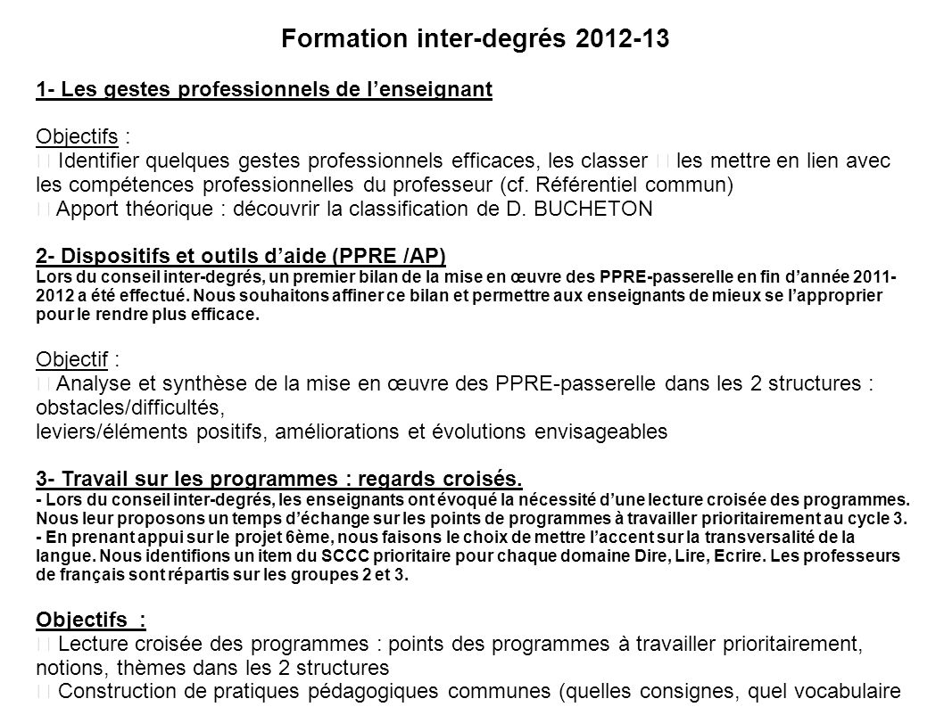 Formation inter-degrés 2012-13