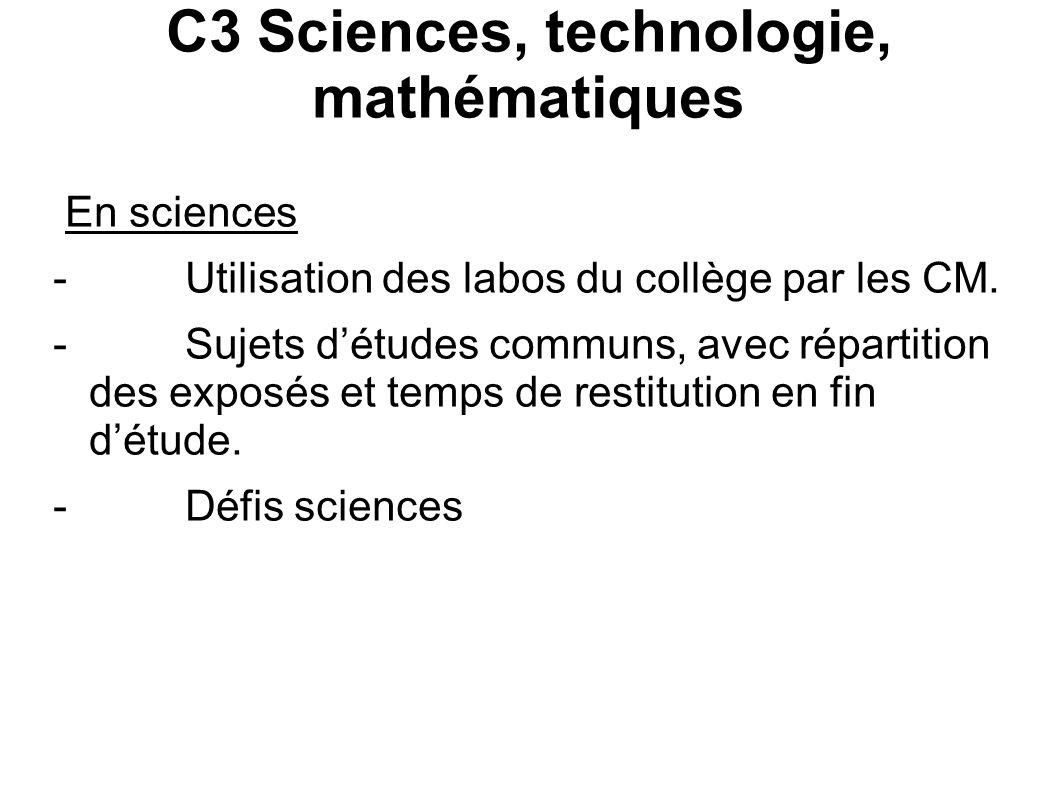 C3 Sciences, technologie, mathématiques
