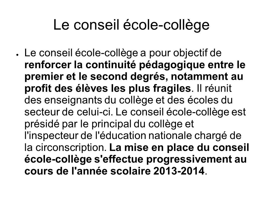 Le conseil école-collège
