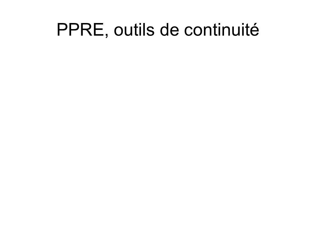 PPRE, outils de continuité