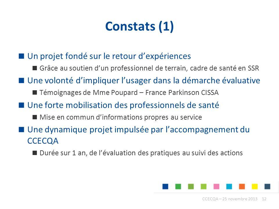 Constats (1) Un projet fondé sur le retour d'expériences