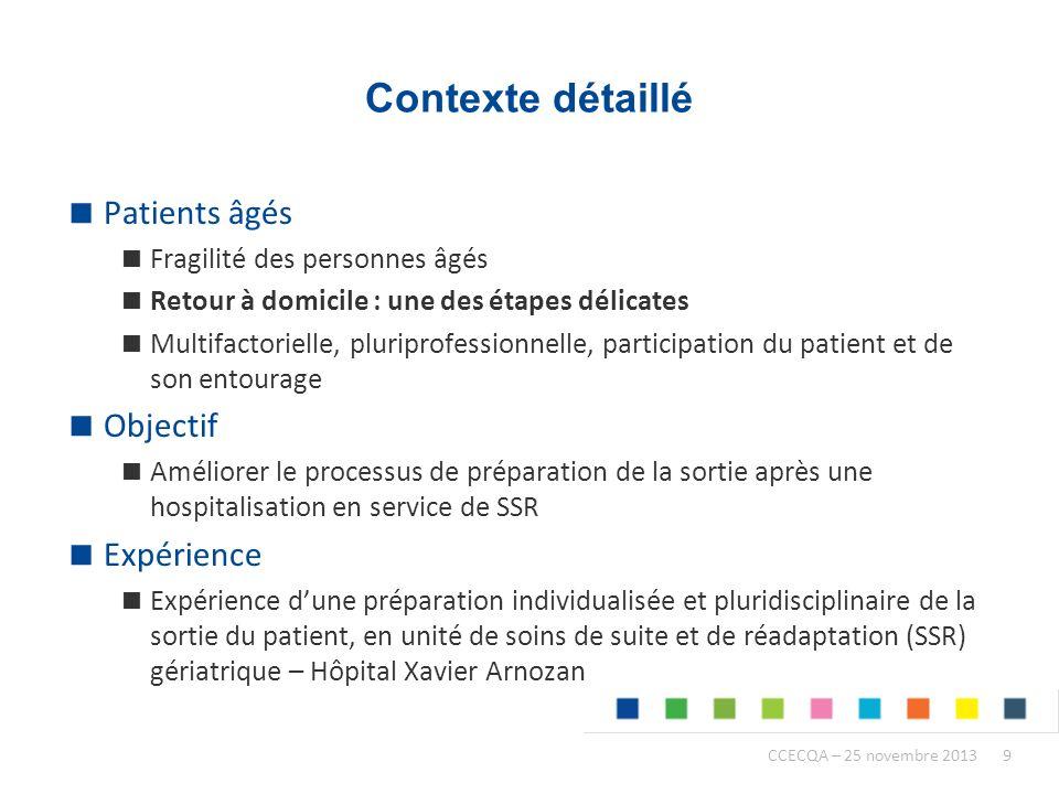 Contexte détaillé Patients âgés Objectif Expérience