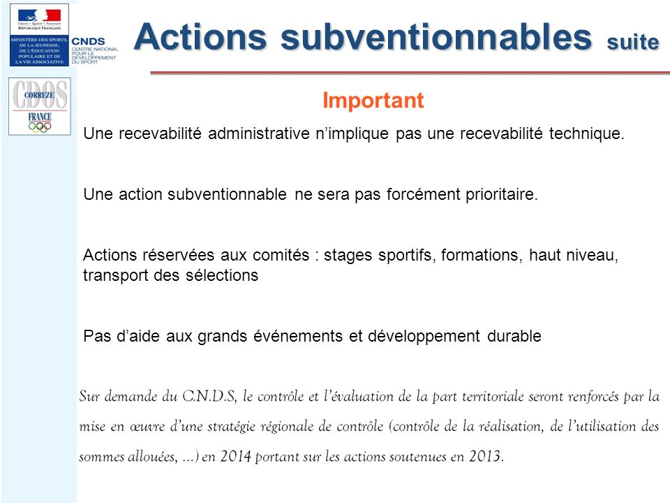 Actions subventionnables suite