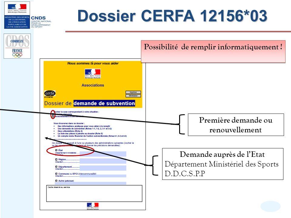 Dossier CERFA 12156*03 Possibilité de remplir informatiquement !