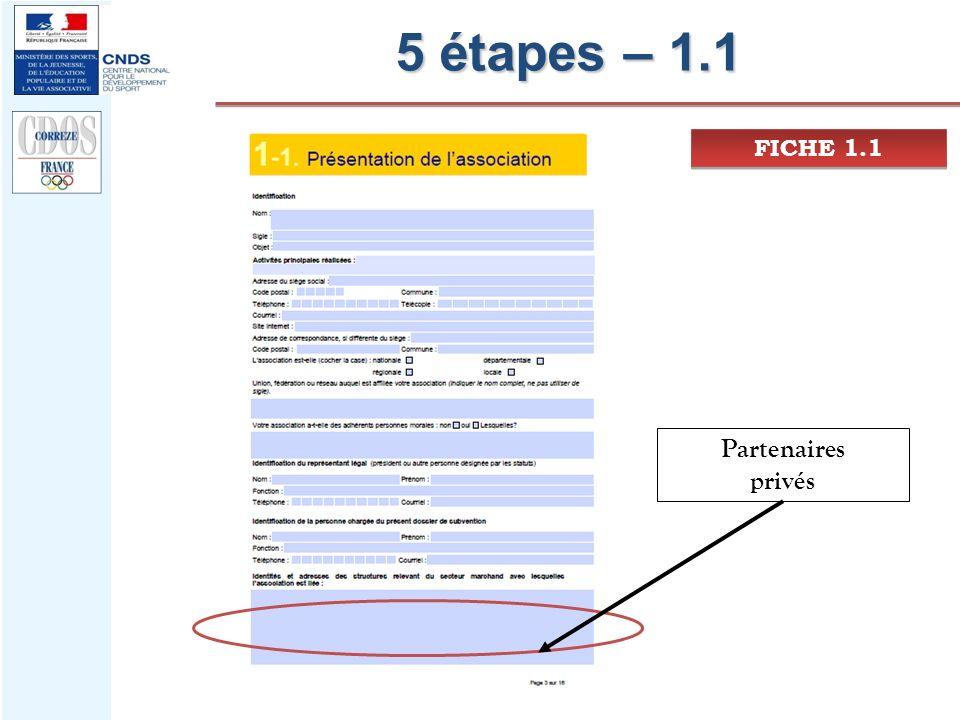 5 étapes – 1.1 FICHE 1.1 Partenaires privés