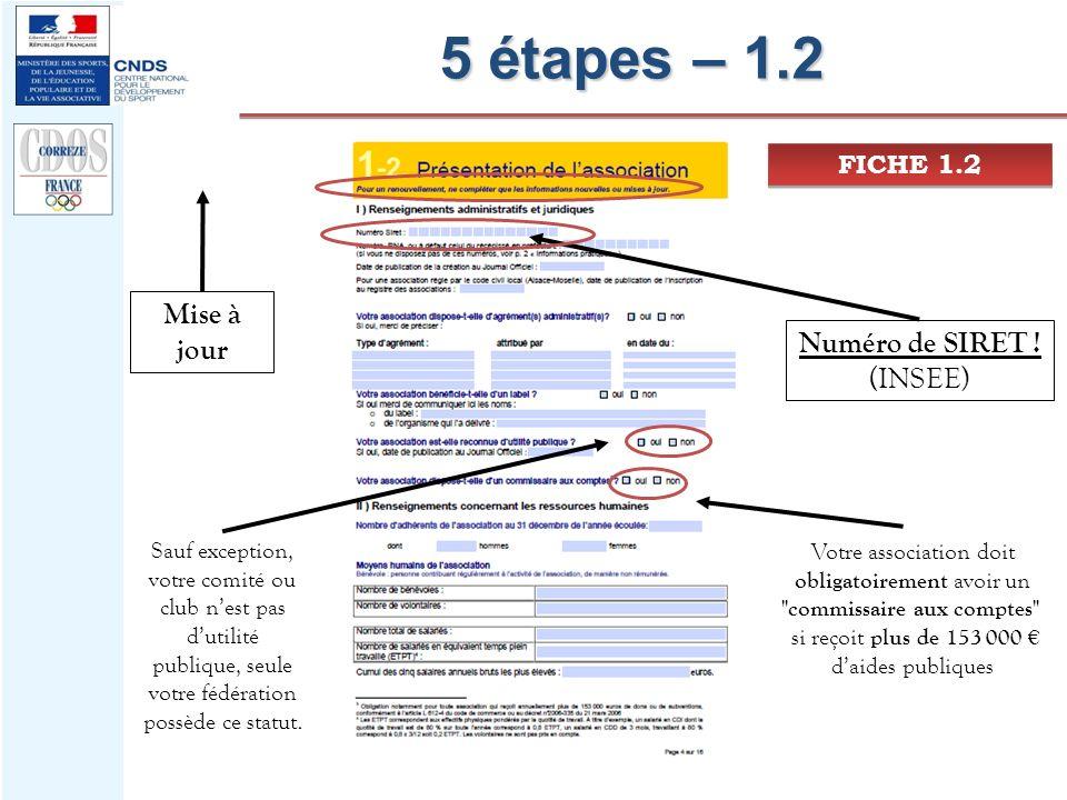 5 étapes – 1.2 Mise à jour Numéro de SIRET ! (INSEE) FICHE 1.2