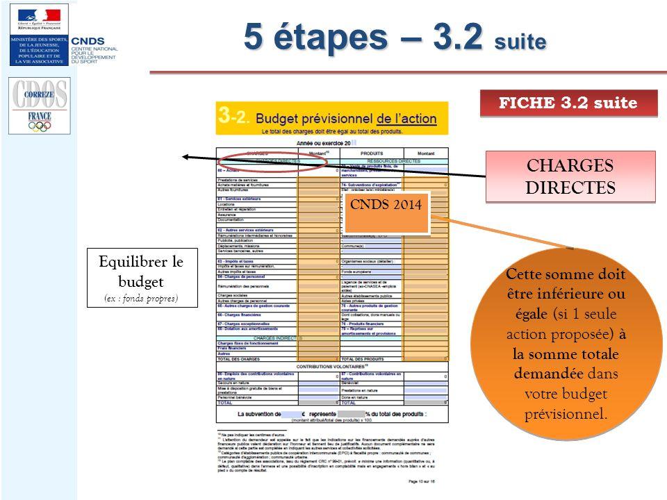 5 étapes – 3.2 suite CHARGES DIRECTES FICHE 3.2 suite