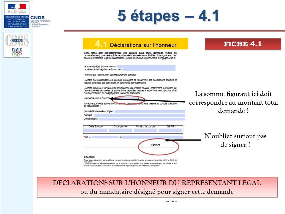 5 étapes – 4.1 FICHE 4.1. La somme figurant ici doit correspondre au montant total demandé ! N'oubliez surtout pas de signer !