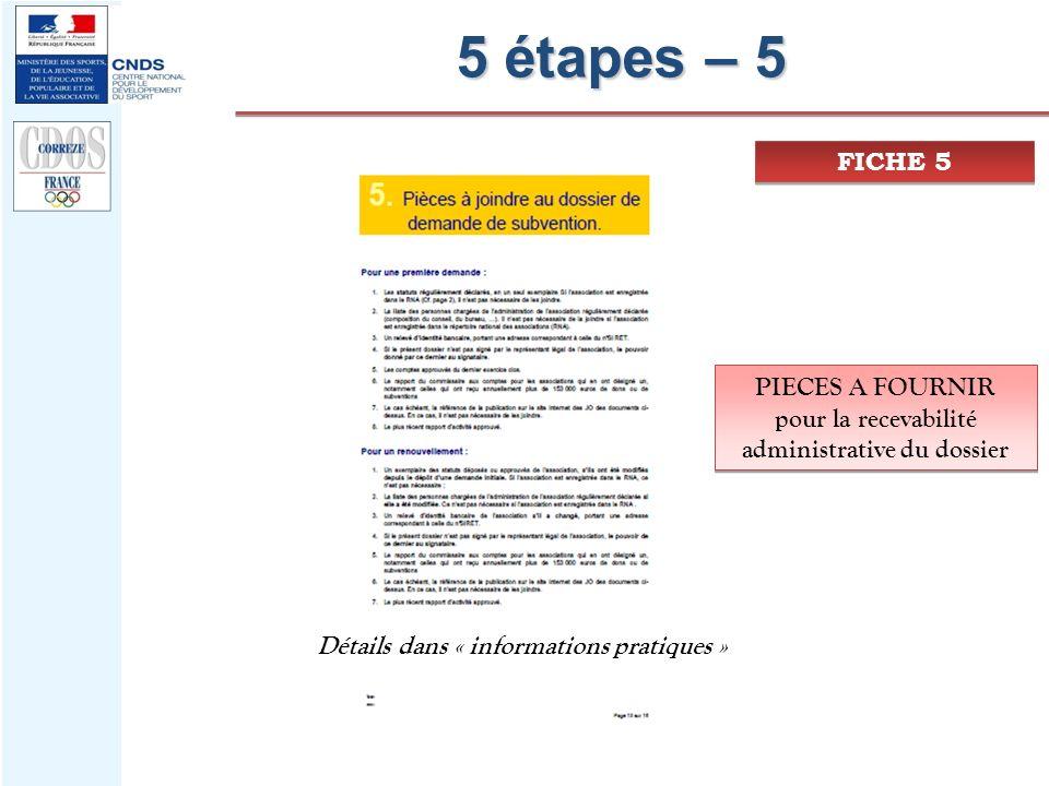 5 étapes – 5 FICHE 5 PIECES A FOURNIR