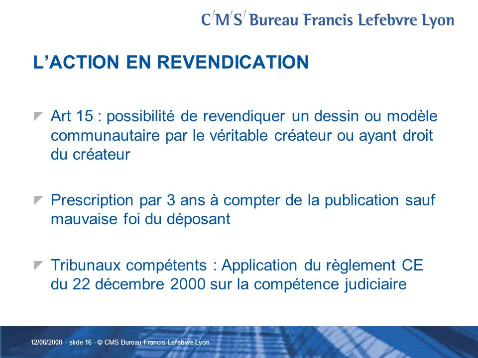 L'ACTION EN REVENDICATION