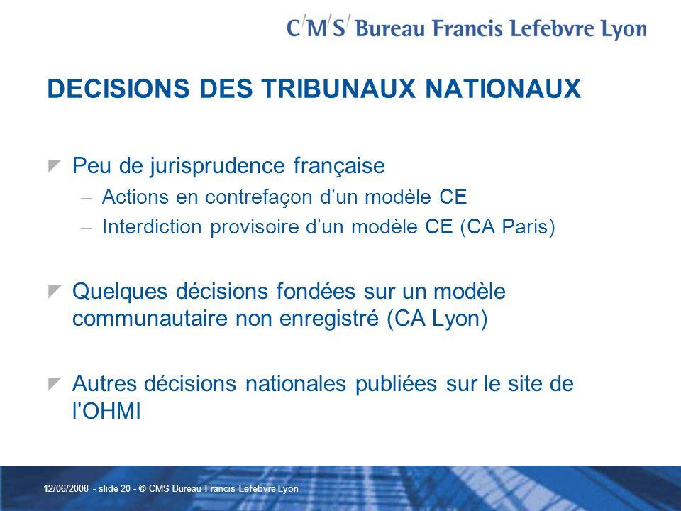 DECISIONS DES TRIBUNAUX NATIONAUX