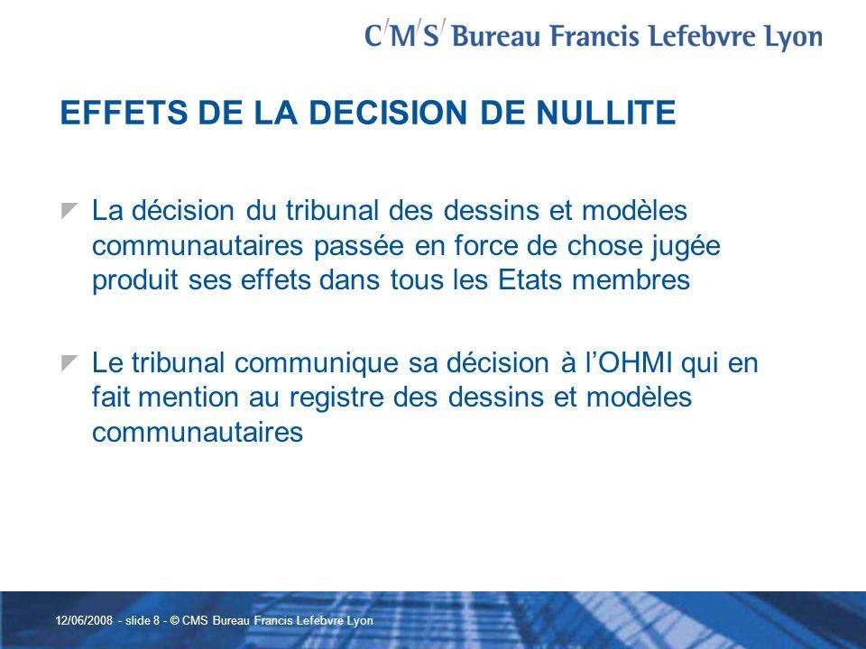 EFFETS DE LA DECISION DE NULLITE