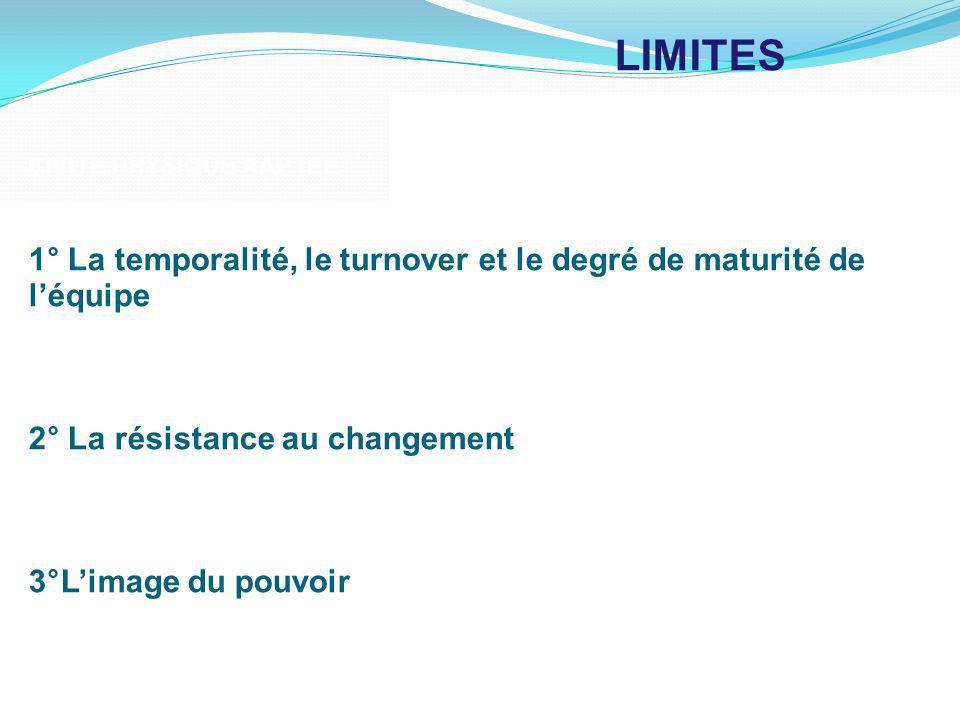 LIMITES CIVITE PHYSIQUE AAPTEE. 1° La temporalité, le turnover et le degré de maturité de l'équipe.